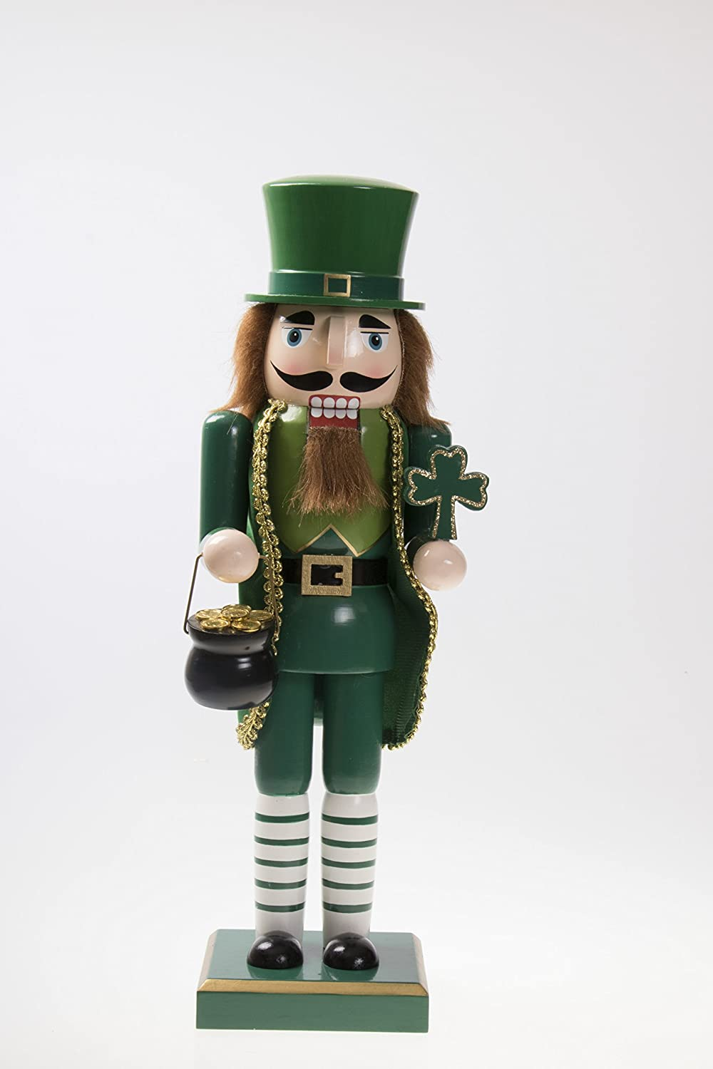 Clever Creations Traditional Irish Wooden Christmas Nutcracker Festive Holiday Decor | Wearing Green Holding Shamrock and Pot of Gold | Luck of The Irish | 100% Wood | 14