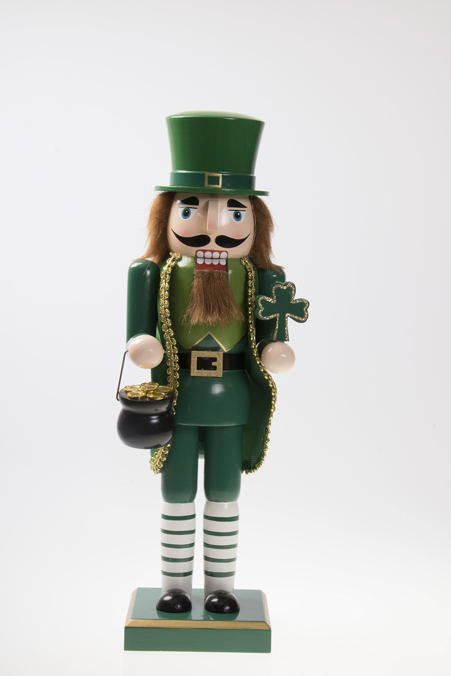 Clever Creations Traditional Irish Wooden Christmas Nutcracker Festive Holiday Decor | Wearing Green Holding Shamrock and Pot of Gold | Luck of The Irish | 100% Wood | 14'' Tall