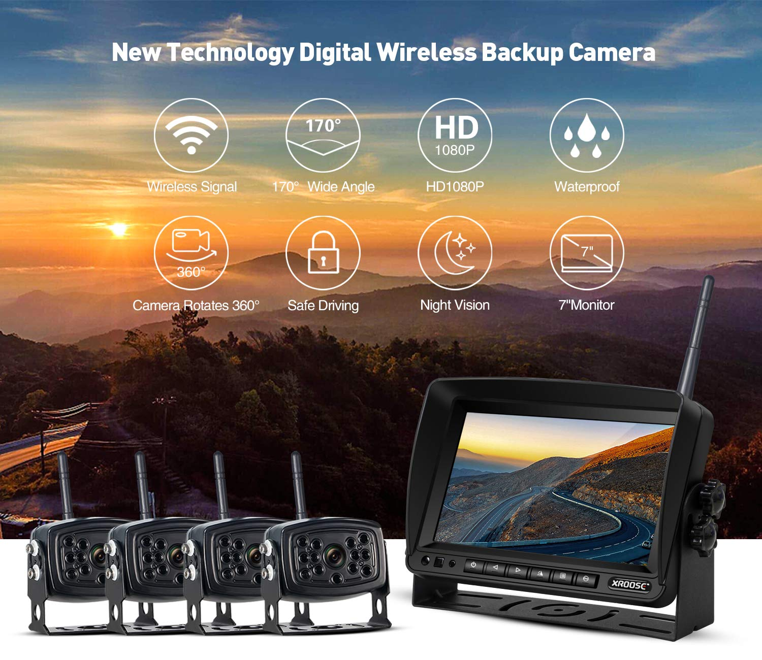 Wireless Backup Camera with Monitor System Split Screen for RV Rearview Reversing Back Camera No Interface IP69 Waterproof + Big 7'' Wireless Monitor for Truck Trailer Heavy Box Truck Motorhome ... by Xroose (Image #4)