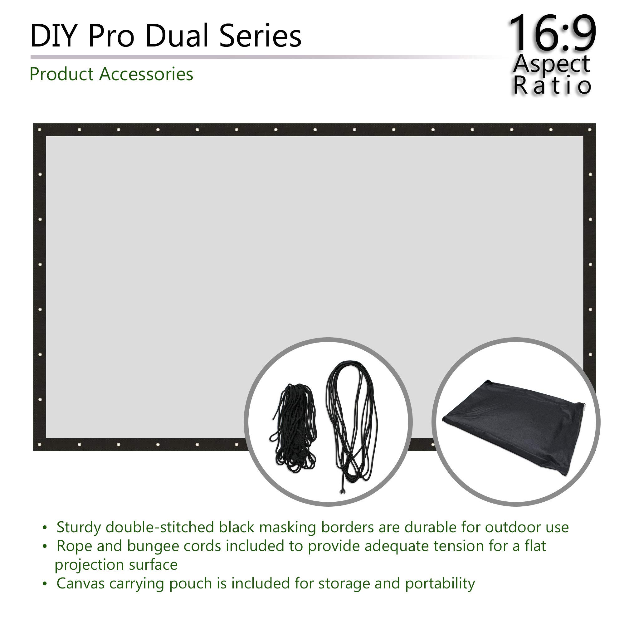 Elite Screens DIY PRO Dual, 96-INCH 16:9, Do-It-Yourself Front & Rear Indoor/Outdoor Projector Screen for Home Theater Cinema with Finished Edges & Grommets, DIY96RH1-DUAL by Elite Screens