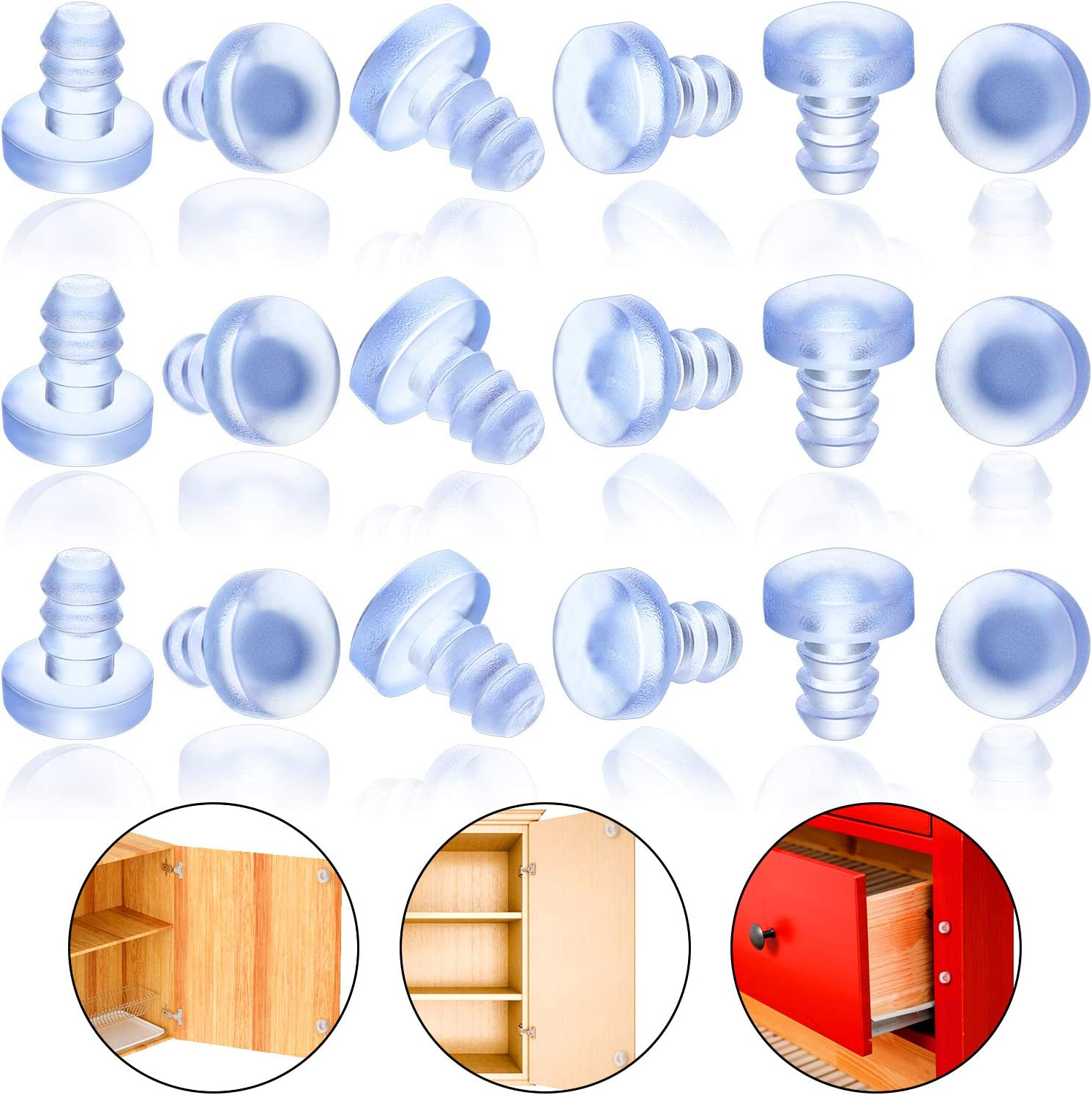 100 Pieces Glass Table Top Bumpers Soft Stem Bumper Anti Collision Embedded Rubber Bumpers Cabinet Door Bumpers for Patio Table Glass Table Top, Fits 3/16 Inch Holes