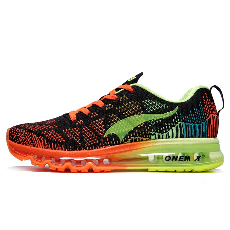 OneMix Men's Lightweight Air Cushion Sport Running Shoes,Zapatillas de Running para Hombre Deporte y Aire Libre de Malla Transpirables 41 EU Black Fluorescent green Orange