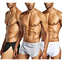 Gymskop Men's Split Side Short Shorts Ice Silk Boxer Briefs Sexy Breathable Underwear Underpants Soft Trunks