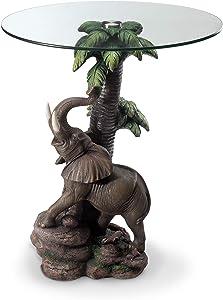 "OK Lighting Animal 24"" H Glass Top Color Sculpture End Table - Elephant"