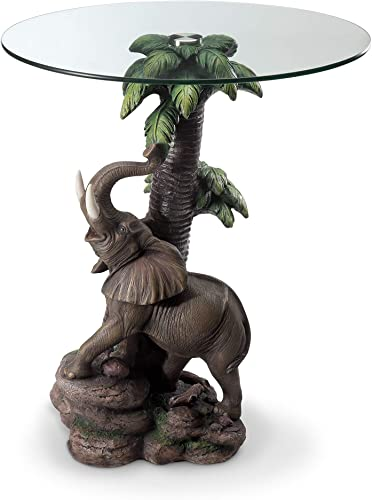 OK Lighting Animal 24 H Glass Top Color Sculpture End Table