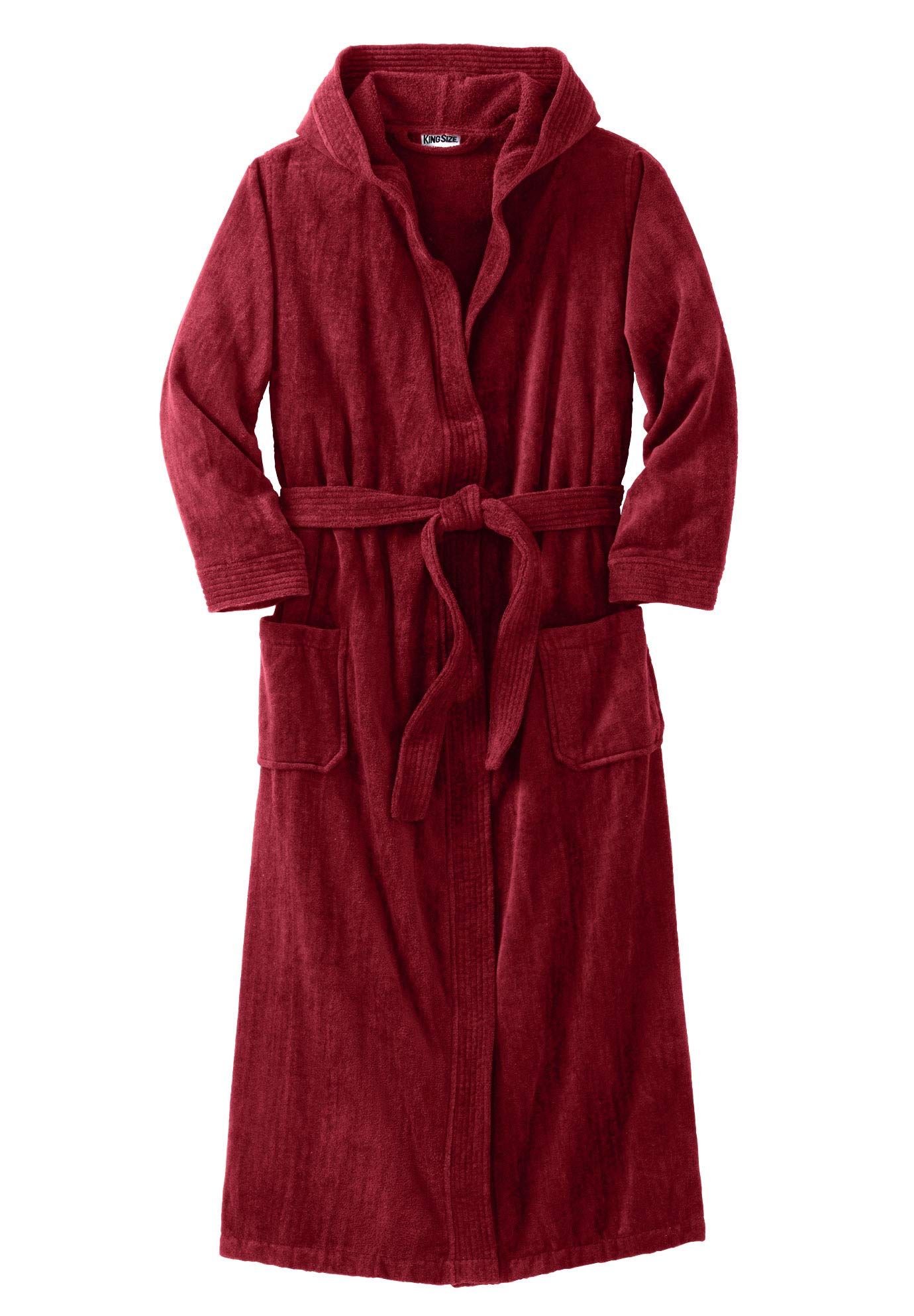 KingSize Men's Big & Tall Terry Velour Hooded Maxi Robe, Rich Burgundy Big-7XL/8X