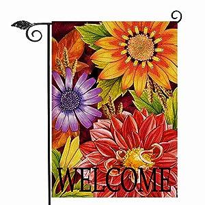 Hzppyz Welcome Fall Garden Flag Double Sided, Autumn Dahlia Sunflower Daisy Decorative House Yard Outdoor Small Burlap Flag, Vintage Wheat Flower Decor Seasonal Farmhouse Home Outside Decoration 12x18