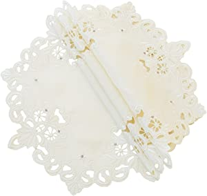 Xia Home Fashions Victorian Lace Embroidered Cutwork Round Doily, 8-Inch, Ivory, Set of 4