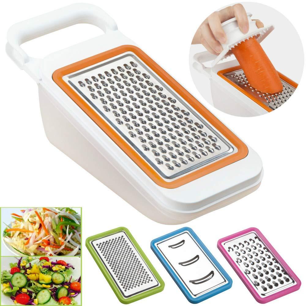 Trancheur à légumes multifonctions avec 3 lames interchangeables - Coupe-râpe à nourriture réglable pour mandoline, convient pour oignons et fromages de concombre carottes (Couleur aléatoire)