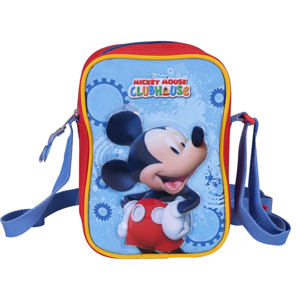 Borsa tracolla bambino con stampa Mickey Mouse Tracollina regolabile da viaggio Pratica borsetta messenger con chiusura superiore La Casa di Topolino 14x19x6 Perletti Rossa e azzurra