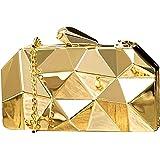 Tooba Women's Handicraft Party Wear Diamond Cut Box Bridal, Casual Clutch Metallic Gold Bag Purse