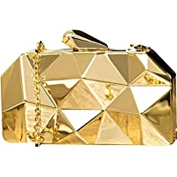 Tooba Women's Handicraft Party Wear Diamond Cut Box Bridal, Casual Clutch Metallic Gold Bag Purse