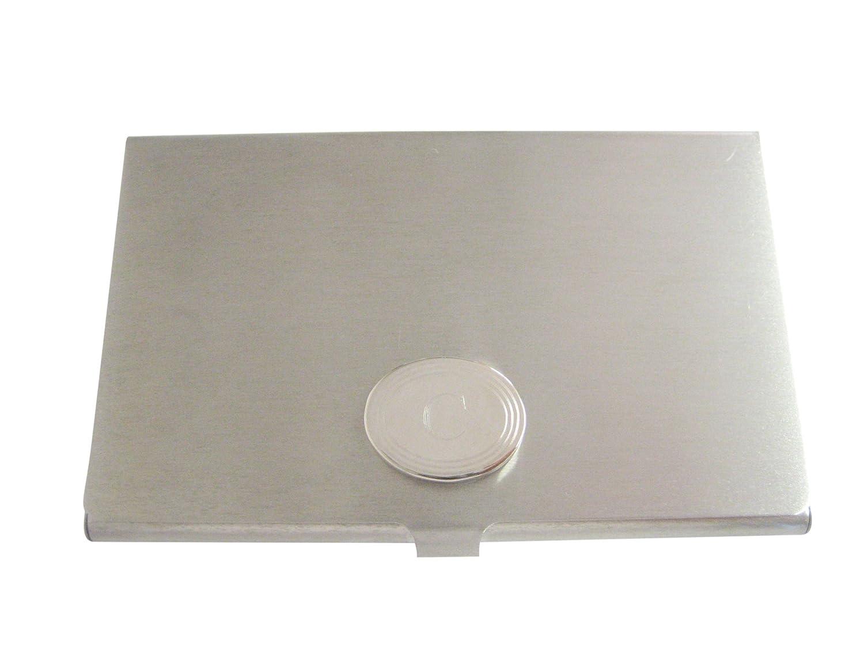 Silver Toned Etched Oval Letter C Monogram Business Card Holder