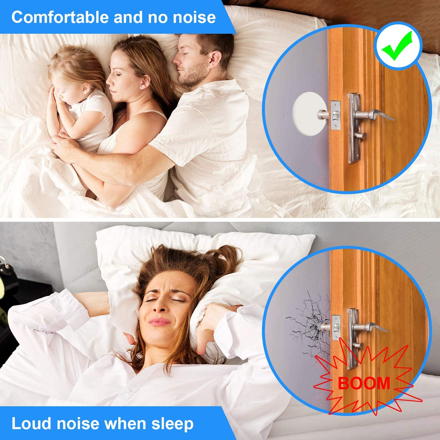 6 Pack Door Stopper Wall Protector, 3.15 Wall Protector with Self Adhesive 3M Sticker Protect The Wall from Damage and Avoid Noise