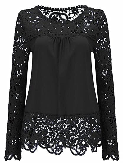 Jaycargogo Women Long Sleeve Embroidery Crochet Floral Pattern Lace