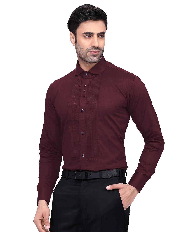 N DOT Maroon Cotton Pleated Tuxedo Style Shirt: Amazon in: Clothing
