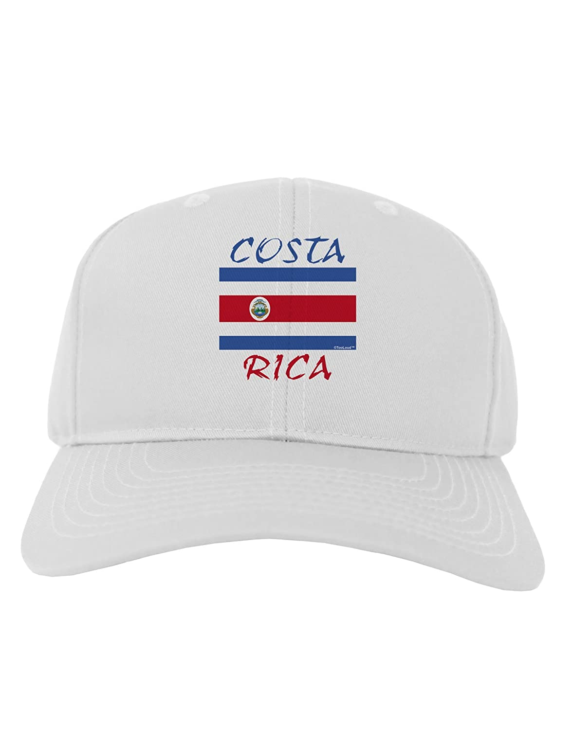 bb0174fc94d Amazon.com  TooLoud Costa Rica Flag Adult Baseball Cap Hat - White  Clothing