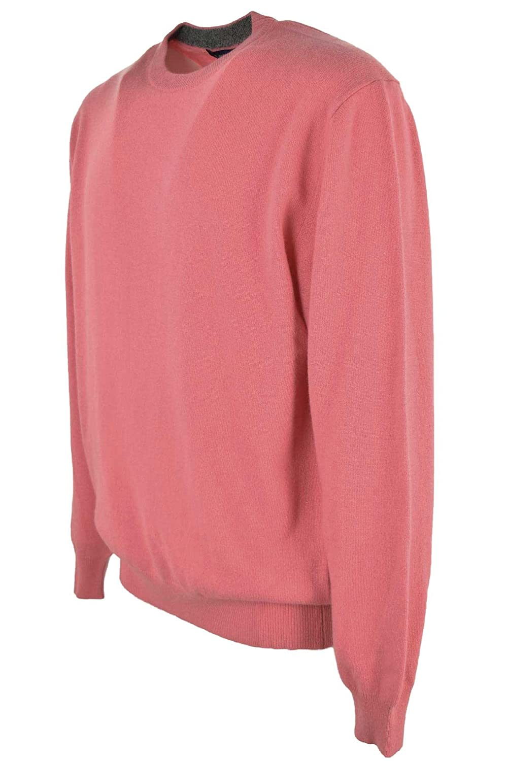 Sweater Men Crew Neck Coral Pink - 2-Wire Wool Blend Cashmere - Pink, M:  Amazon.co.uk: Clothing