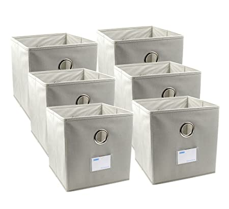 04a005c9ba67 ESYLIFE 6 Pack Collapsible Storage Cubes with Labels Holder Shelf Baskets  with Metal Hole Handle, Beige