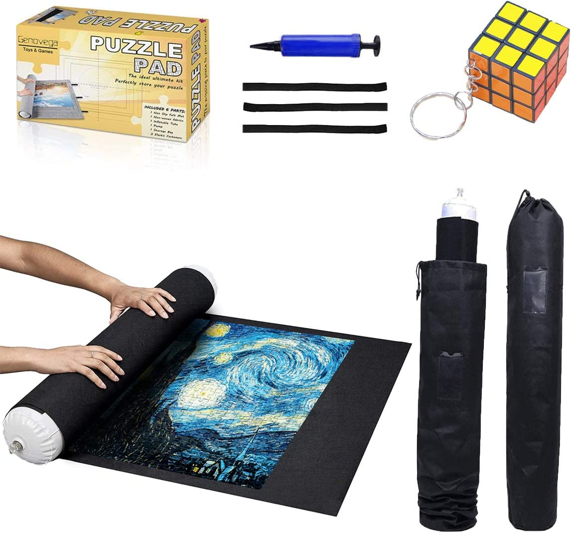 "Puzzle Mat Roll Up - 1000 Pieces and 1500 Pieces - 41"" x 29"" Felt Mat Saver Large Puzzles Board for Adults Kids, Storage and Transport Premium Pump Puzzle Glue Puzzles Felt Mat Inflatable Tube(Black): Toys & Games"