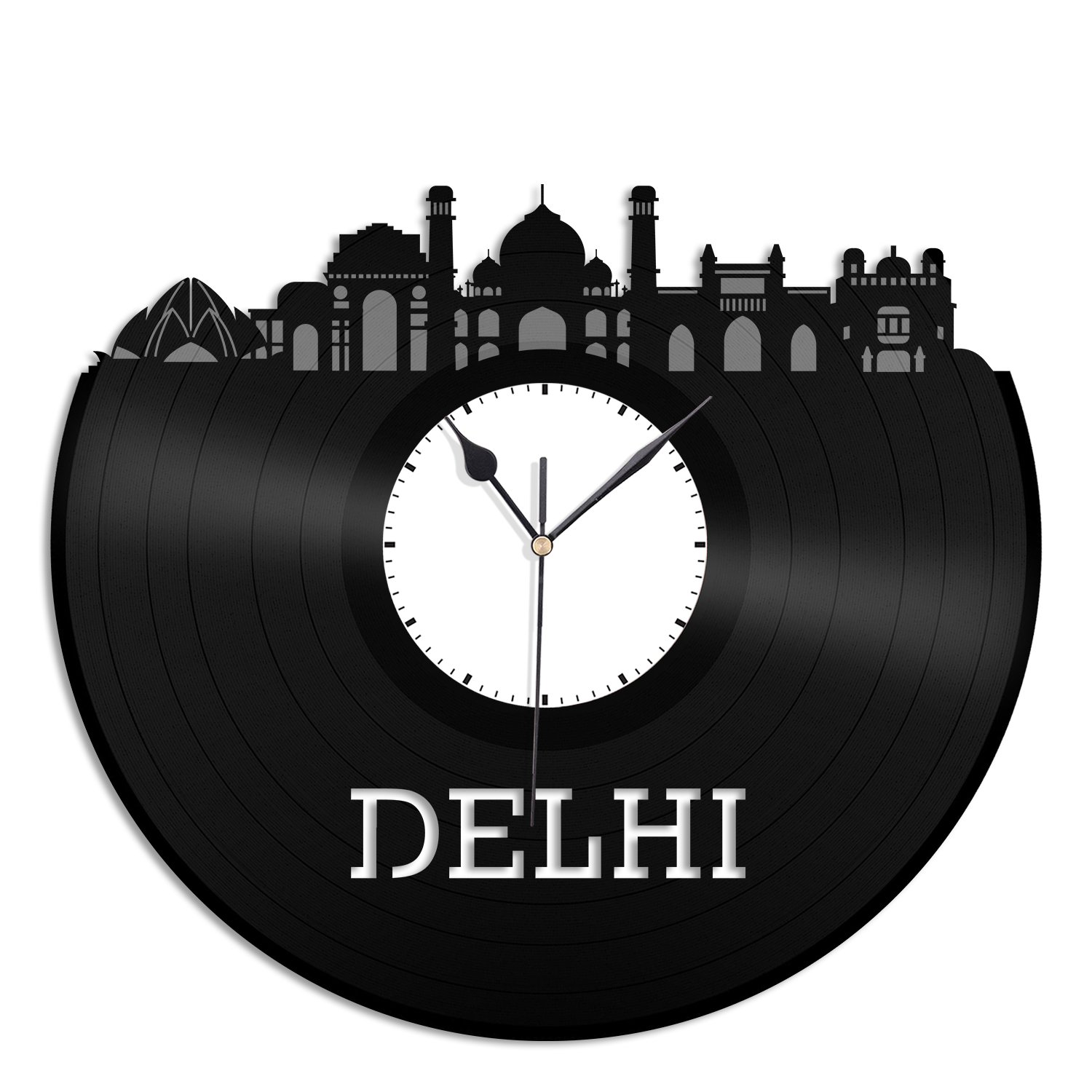 VinylShopUS - Delhi Vinyl Wall Clock City Skyline Capital of India Unique Gift For Home Room Decoration