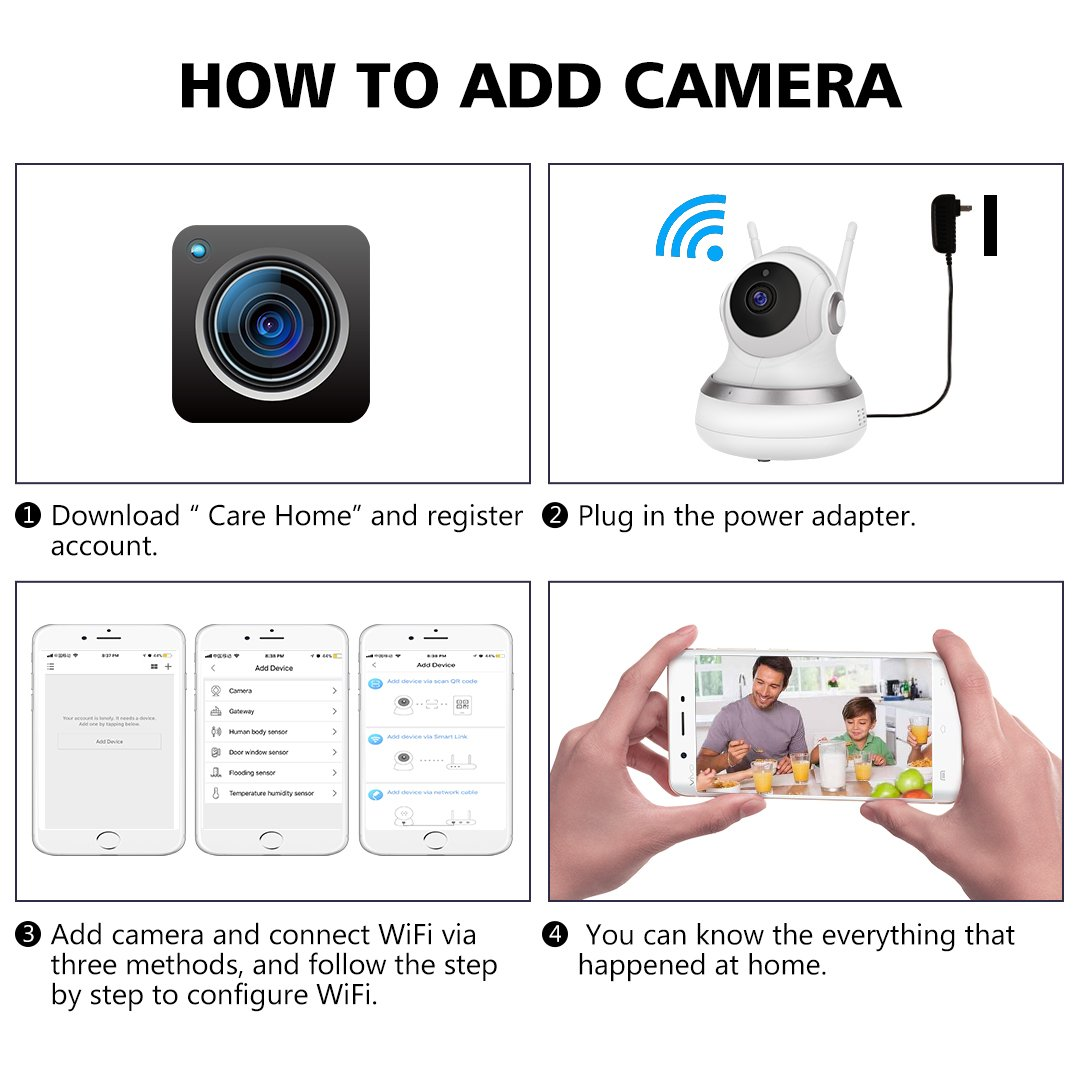 WiFi IP Camera GC-13H Wireless 720P HD IP Camera with Two-Way Audio, 10Meter Night Vision & Pan/Tilt for Baby/Elder/Home Support Cloud Server/SD Card for iOS/Android/Mac OS/Windows Home Security Surv by Golden Security (Image #3)