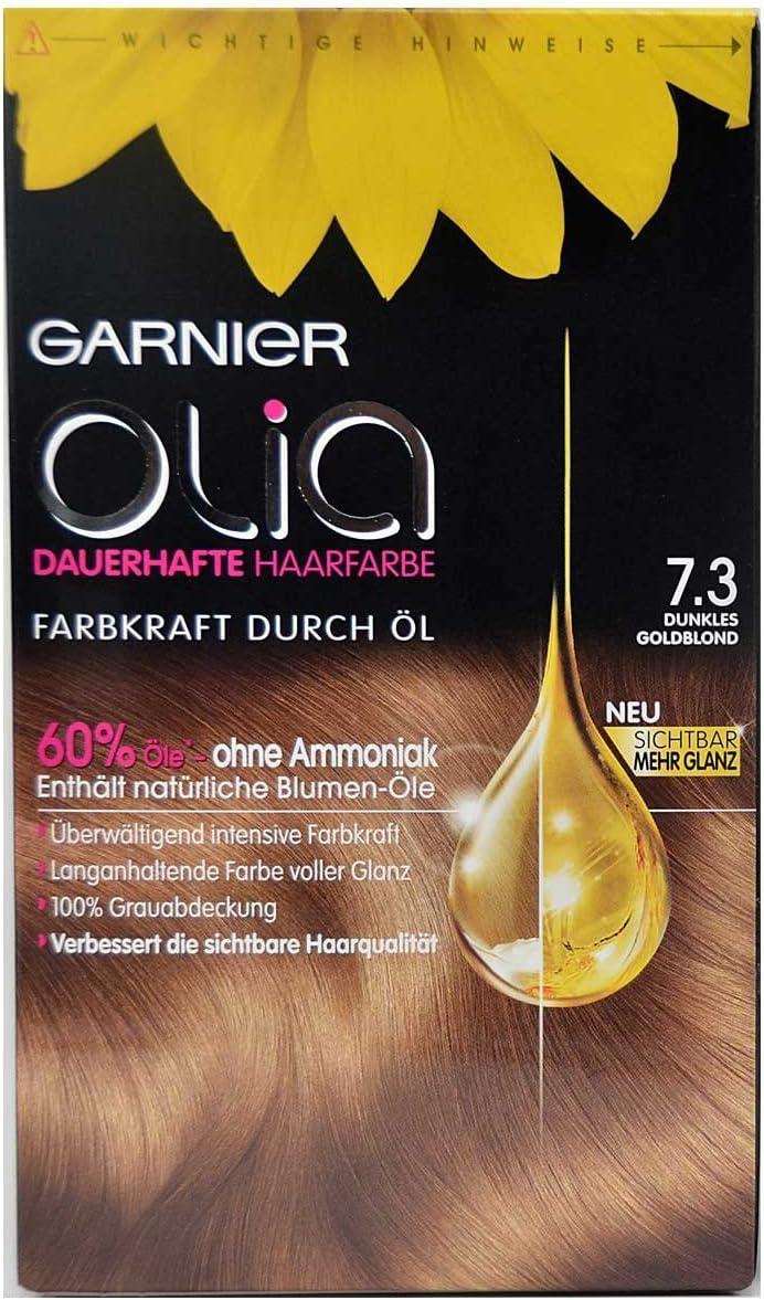 Garnier Olia pelo Color 7.3 Oro Rubio Oscuro, contiene 60% Flores de aceites – sin amoniaco