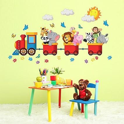 Adesivi Da Parete Per Bambini.Wall Art R00125 Adesivo Da Parete Per Bambini Animali In Viaggio Colorato 120 X 30 X 0 1 Cm