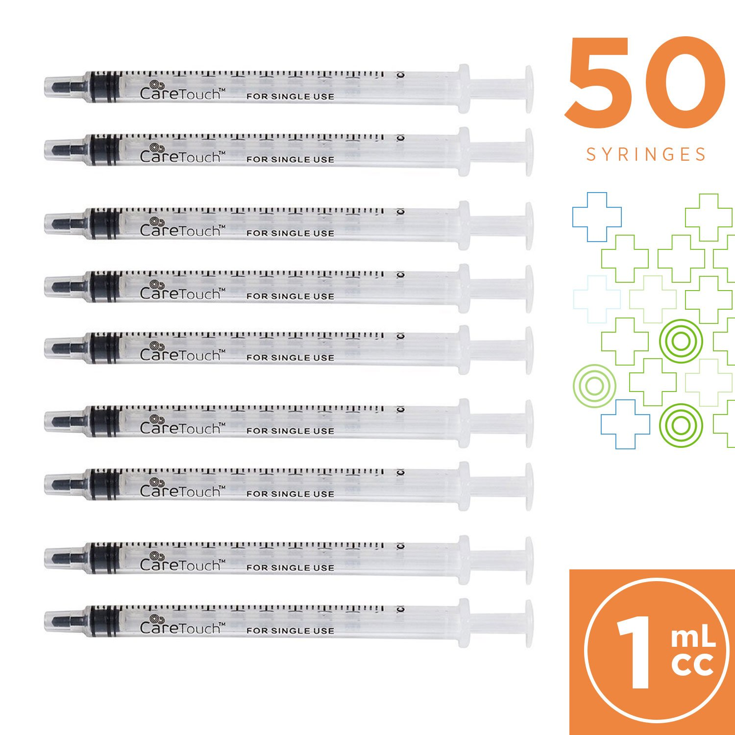 1ml Syringe with Luer Slip Tip - 50 Sterile Syringes by Care Touch - No Needle, Great for Dispensing Oral Medicine and Home Care by Care Touch