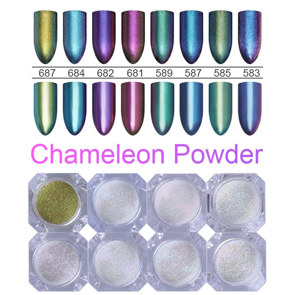 BORN PRETTY 8 Boxes Chameleon Mirror Nail Glitter Powder Gorgeous Nail Art Chrome Pigment Glitters