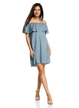 259f49e38c0c oodji Ultra Damen Schulterfreies Lyocell-Kleid, Blau, DE 32 / EU 34 ...