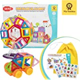 Mia Bambina 128 PCS Mini Magical Magnet I Magnetic Building Blocks | Colourful 3D Magnetic Tiles with Wheels…