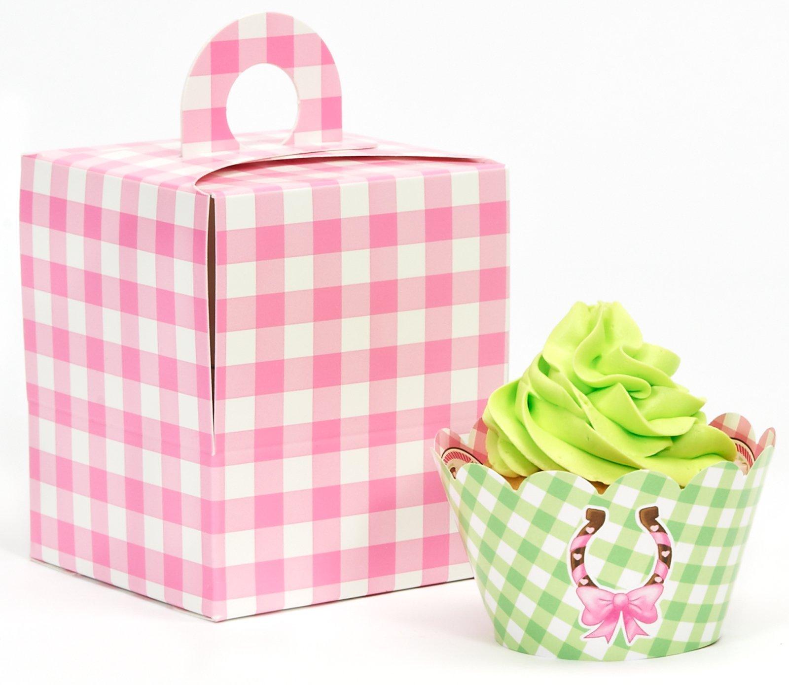 BirthdayExpress Pink Cowgirl Party Supplies - Cupcake Wrapper & Box Kit