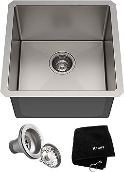 Kraus Khu101 17 Standart Pro 16 Gauge Undermount Single Bowl Kitchen Sink 17 Inch Stainless Steel Amazon Com