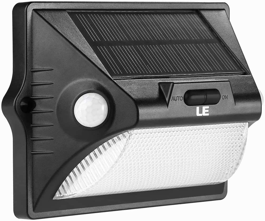 LE Solar Lights Outdoor with PIR Motion Sensor, 2 Lighting Modes, 12 RGBW LEDs, Color and Daylight White, Waterproof Wireless Wall Lamp for Porch Yard Garden Driveway Pathway Front Door and More
