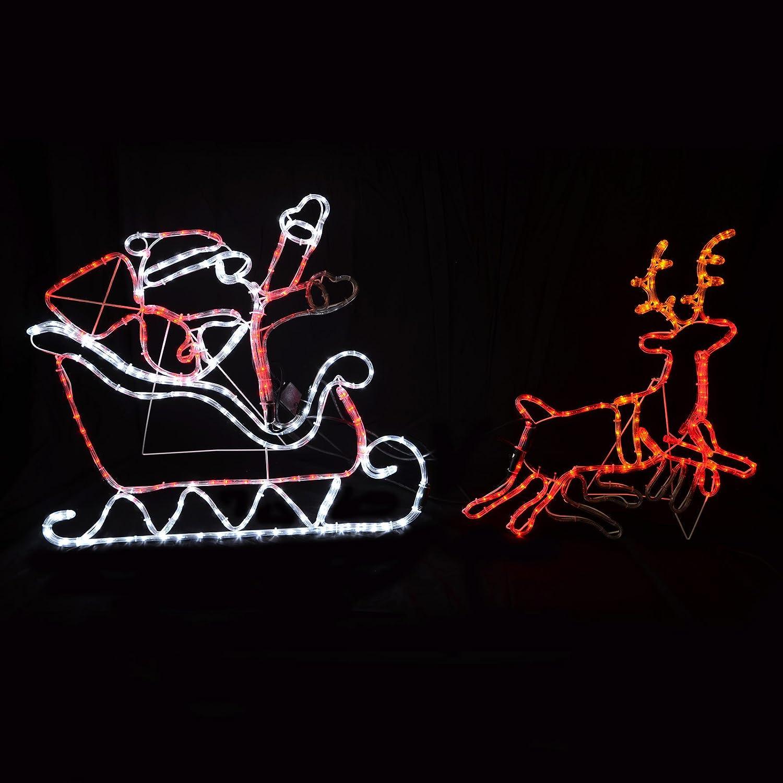 Multi coloured flashing moving led rope light santa sleigh multi coloured flashing moving led rope light santa sleigh reindeer christmas amazon kitchen home aloadofball Gallery