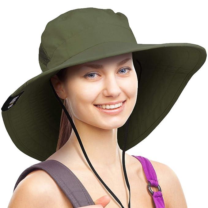 e730db85 Wide Brim Sun Hat Outdoor UV Protection Safari Cap for Women Green ...