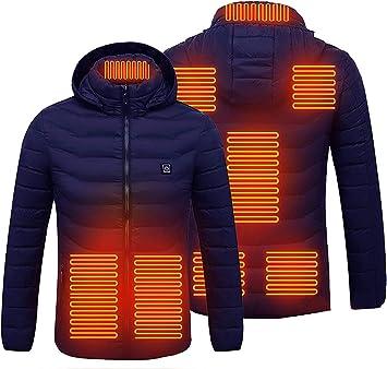 ユニセックス加熱ジャケット、3つの温度調整可能なUSB充電防水防風ボディウォーマーフーディージャケット、8つの加熱ゾーン、アウトドアキャンプハイキングハンティング用