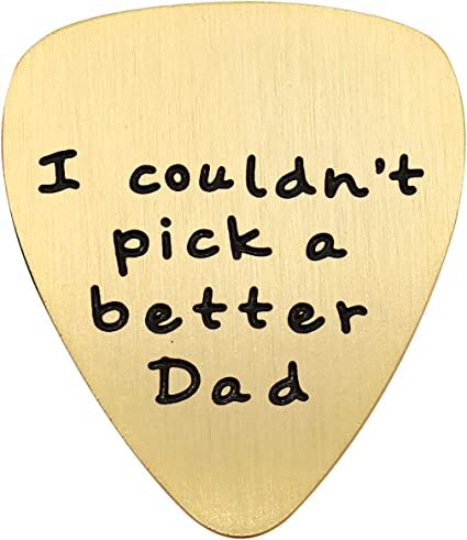 Guitar Pick Wooden Keyring Gift For Musical Dad I Couldn't Pick A Better Dad