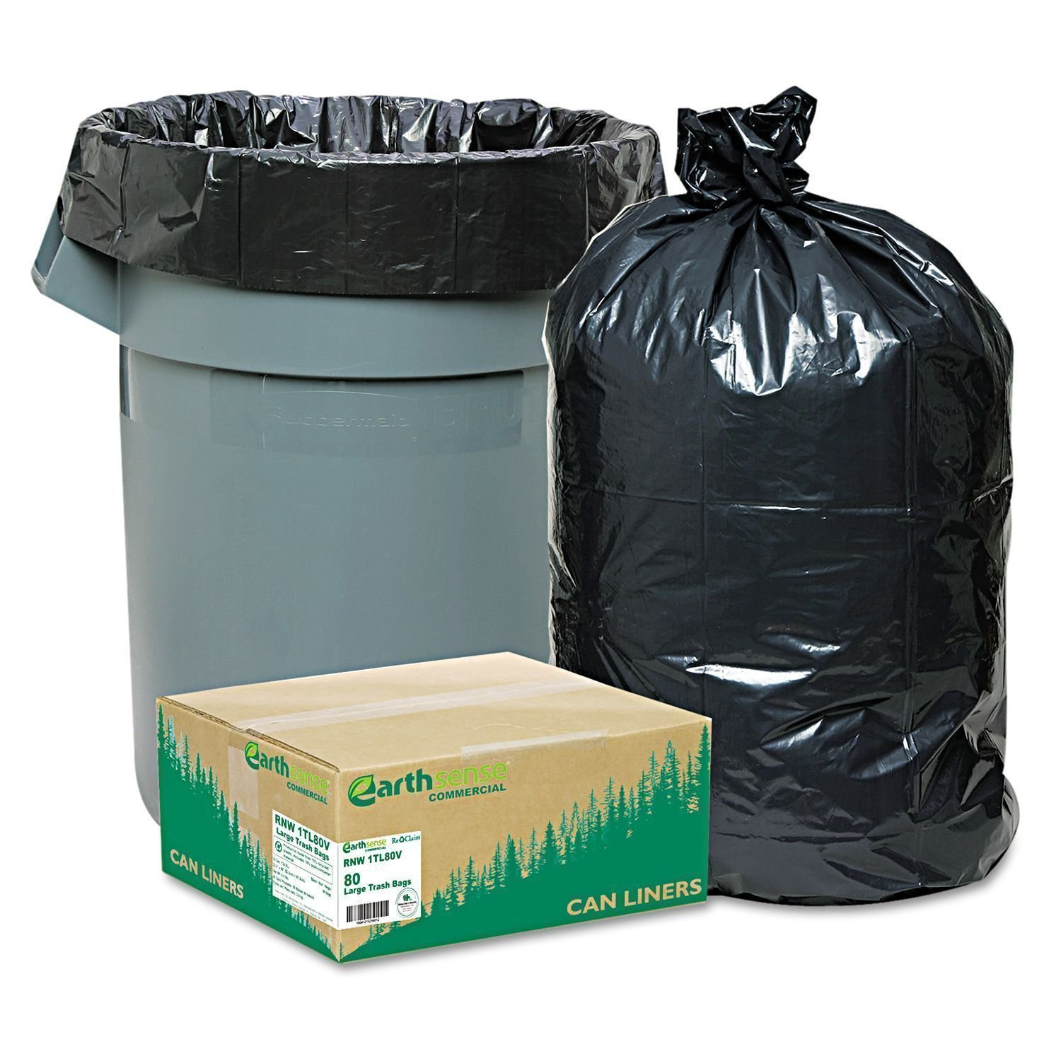 80 Large 33 Gallon Commercial Trash Can Bags Heavy Garbage Duty Yard, EarthSense