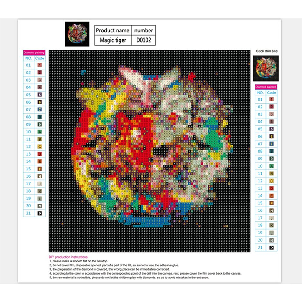 Sttech1 DIY Diamond Painting Kits for Adults, 5D Diamond Painting Full Drill Paint with Diamonds Hell Asura for Home Wall Decor By Number Kits (Tiger) by Sttech1 (Image #4)