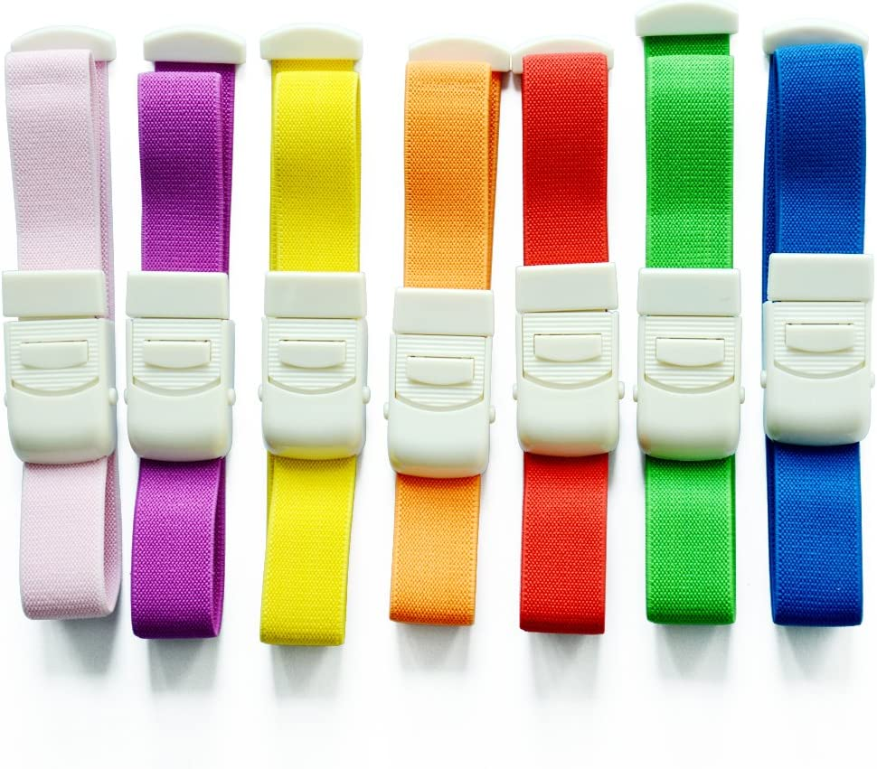 20 Pcs Colorful Adjustable Medical Latex-Free Buckle Tourniquet for Outdoor Emergency to Stop Bleeding