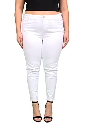 0c2e185f4dd Amazon.com  Celebrity Pink Jeans Women Plus Size White Ankle Skinny ...