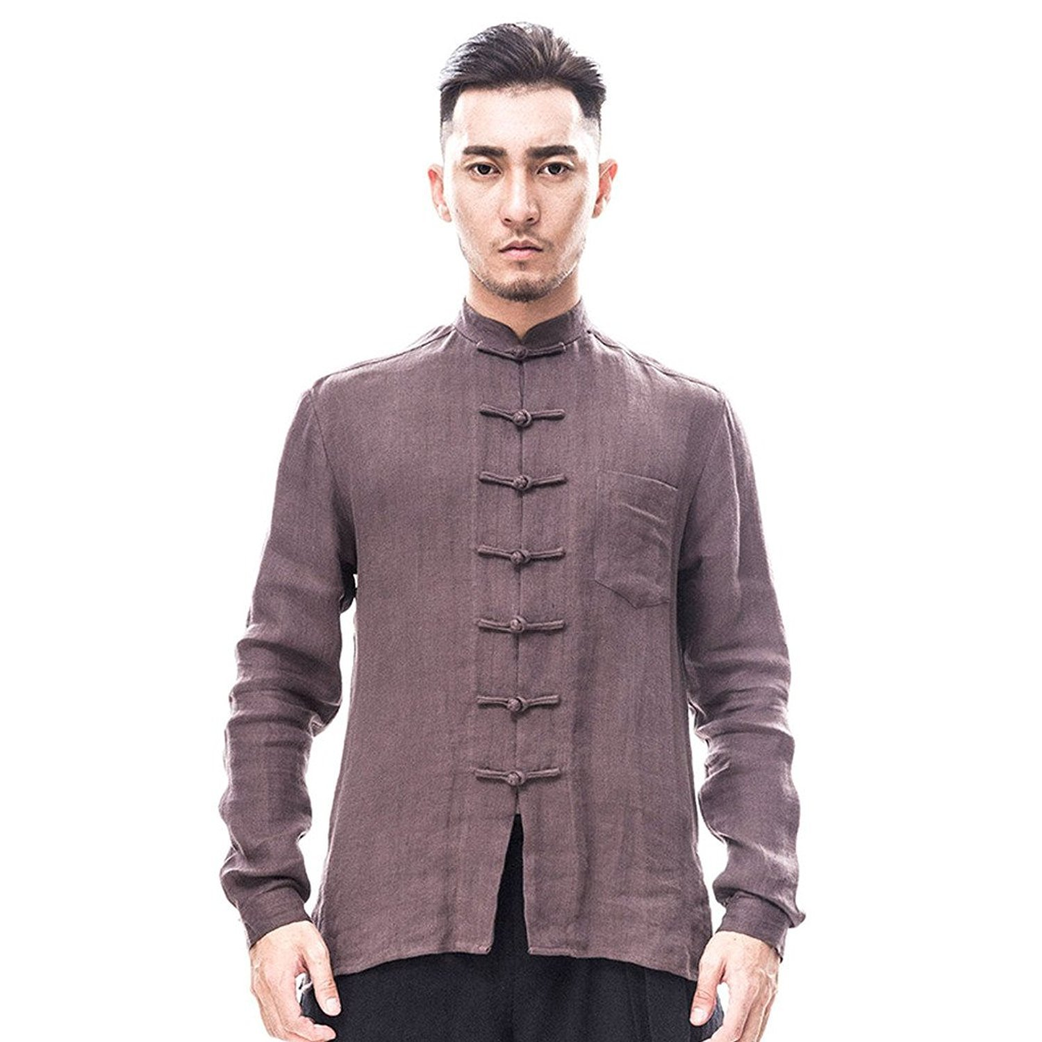 Kung Fu Smith Tai Chi Men Vintage Design Long Sleeve Buttions Linen Slim Fit T Shirt (XX-Large, Brown)