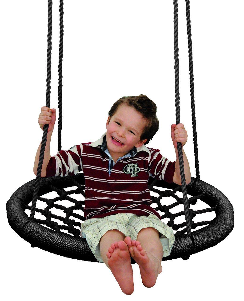 Rundschaukel / Netzschaukel - rund - XL Schaukel - bis 100 kg belastbar - für Kinder & Erwachsene - Seile 18 mm stark - Swing Schaukel - Tellerschaukel - Nestschaukel - Gitterschaukel - für Außen + Innen - Kinderschaukel / Babyschaukel / für Baby - Spinnennetz