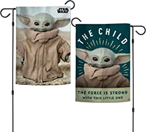 Mandalorian The Mandalorian A Star Wars Story The Force is Strong with This Little One Garden Flags 2 Sided The Force is Strong, Multicolor, One Size