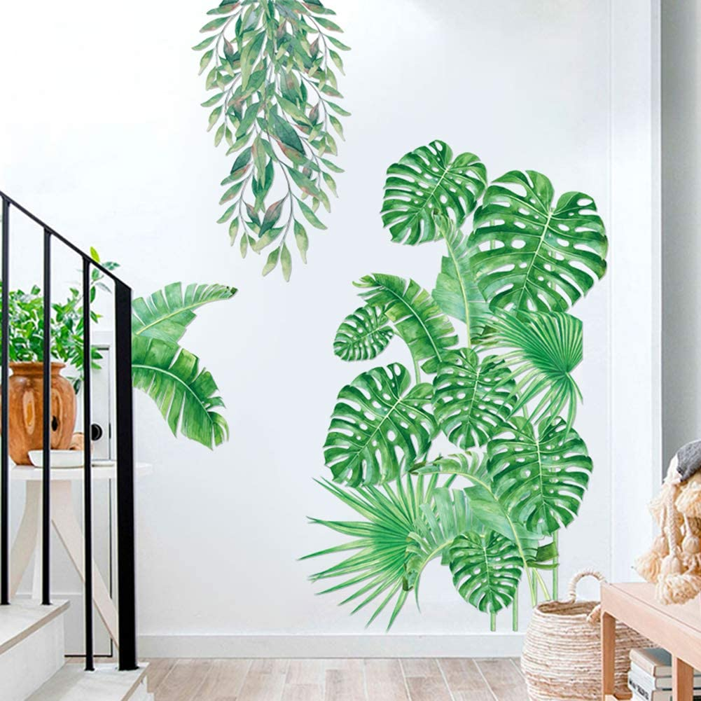 Green Plants Fresh Tropical Leaves Wall Decals, Nature Palm Tree Leaf Plants Wall Stickers, Hanging Tree Vine Art Murals for Nursery Kids Baby Bedroom Living Room Classroom Offices Bathroom Decoration