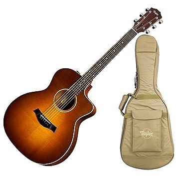 Taylor 214 ce-sb Sunburst acústica guitarra eléctrica w/bolsa de concierto, sintonizador, y soporte: Amazon.es: Instrumentos musicales