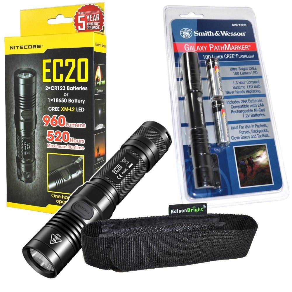 Nitecore EC20 960 Lumen CREE XM-L2 T6 LED Flashlight & Smith & Wesson PathMarker LED Flashlight with high quality EdisonBright holster