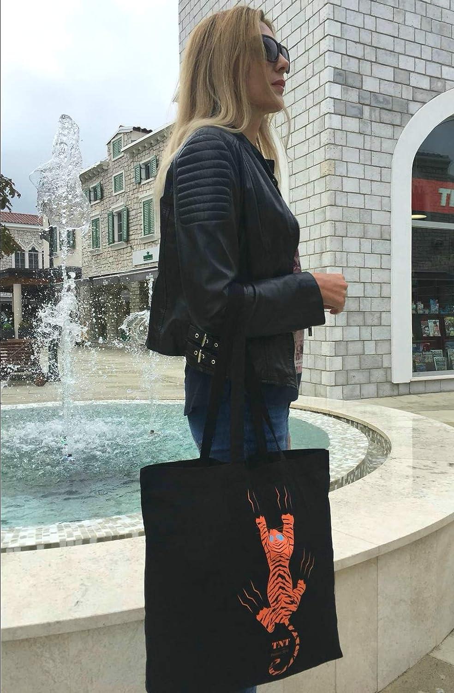 da donna grande borsa di cotone colore: Nero per vari usi in cotone con tasca sport TNT Positive shopping Borsa della spesa in tela